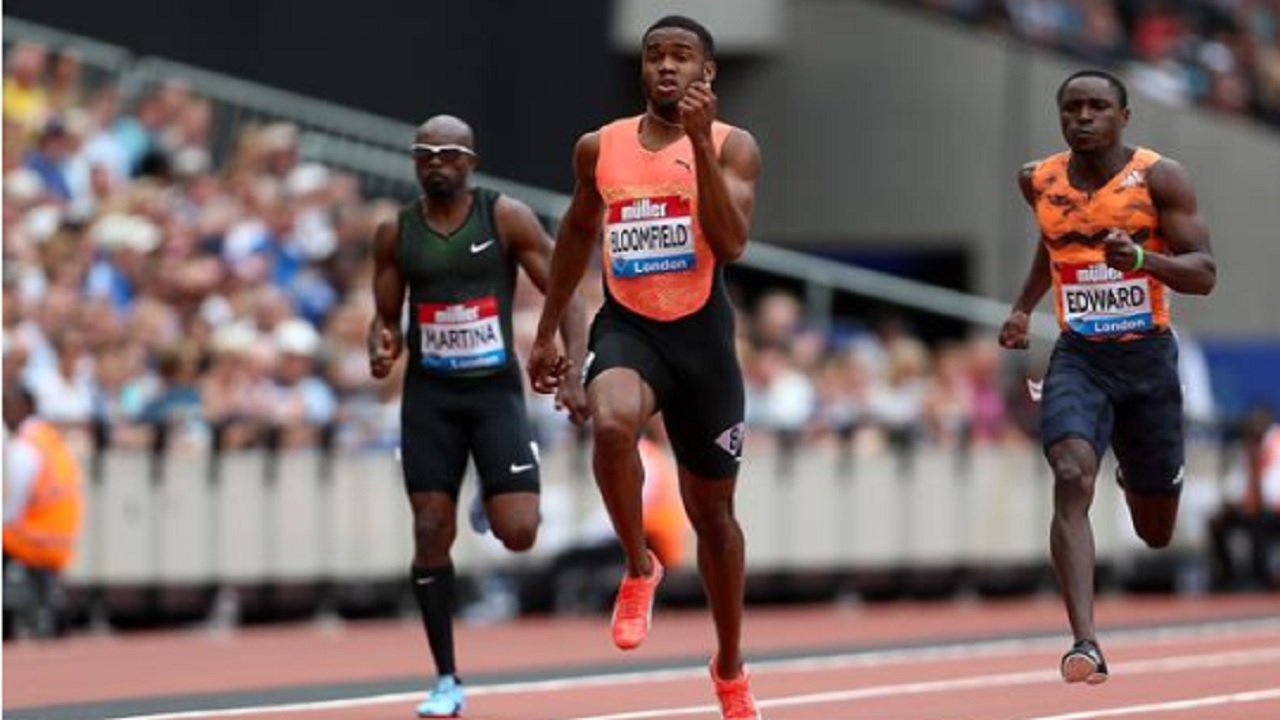 Jamaica's Akeem Bloomfield winning the 200m in London recently. (PHOTO: IAAF).