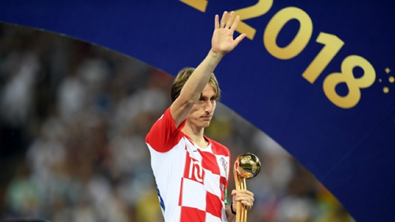 Croatia star Luka Modric with the World Cup Golden Ball.