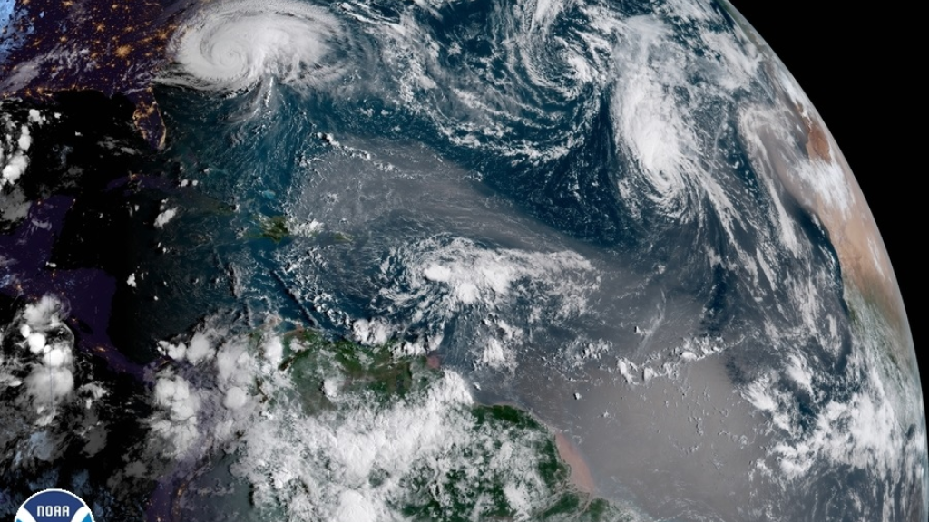 Photo: Tropical Storm Isaac moves toward the Leeward Islands on September 13, 2018.