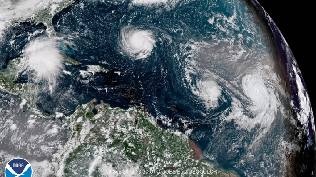 Hurricanes Florence Isaac and Helene moving through the Atlantic
