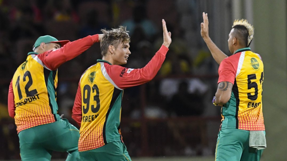 The Guyana Amazon Warriors celebrate another wicket during their victory over the Trinbago Knight Riders (Photo courtesy CPL T20 Ltd.2018)