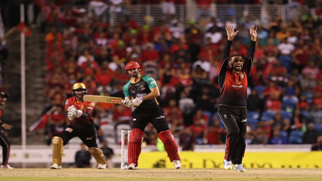 Fawad Ahmed of Trinbago Knight Riders appeals successfully for a LBW against Ben Cutting of St Kitts and Nevis Patriots during their Hero Caribbean Premier League semi-final match at Brian Lara Stadium on Friday, September 14, 2018 in Tarouba, Trinidad and Tobago. (PHOTO: CPL via Getty Images).