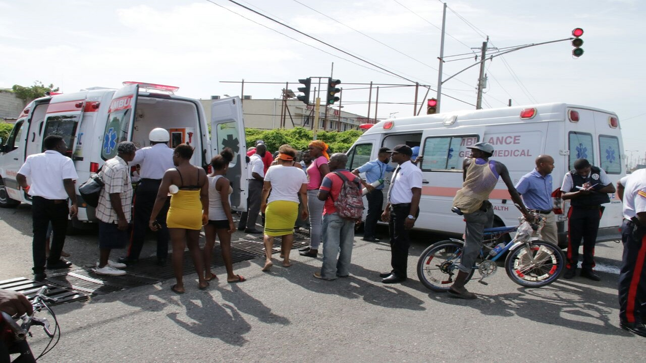 File photo of ambulances at an accident scene in Kingston.