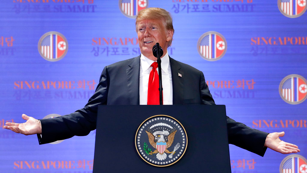"In this June 12, 2018, file photo, U.S. President Donald Trump answers questions about the summit with North Korea leader Kim Jong Un during a press conference at the Capella resort on Sentosa Island in Singapore. To South Koreans, Bob Woodward's new book about the Trump presidency paints a bizarre but familiar picture of an unconventional U.S. leader who thinks little of a decades-long alliance that South Koreans describe as a ""bond of blood."" (AP Photo/Evan Vucci, File)"