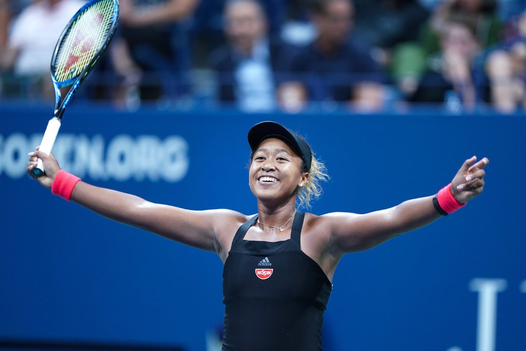 Naomi Osaka célébrant sa victoire. Photo de New York Times