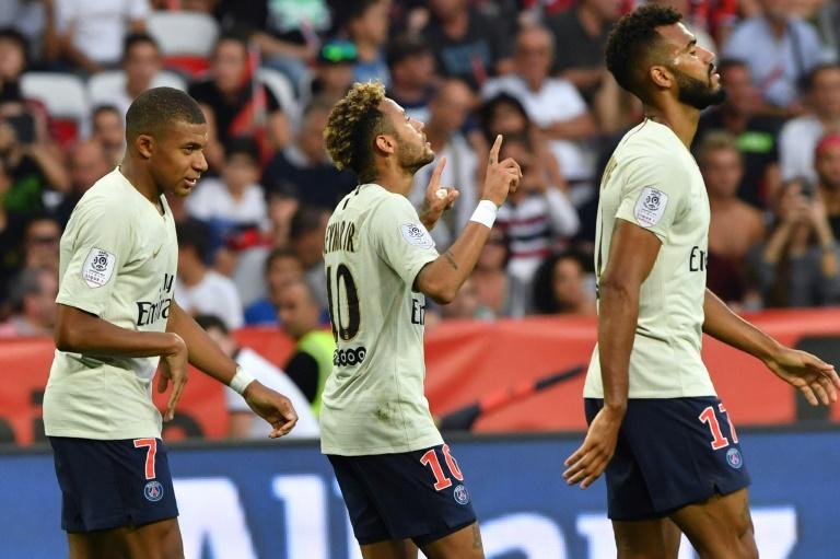 Neymar (c) auteur d'un doublé lors de la victoire du PSG à Nice 3-0 le 29 septembre 2018