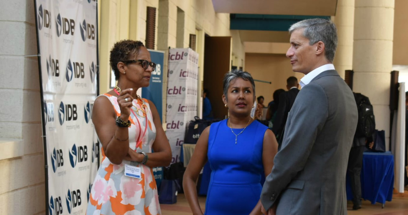 (L-R) Therese Turner-Jones, GM of Caribbean Country Department, IDB; Chief Economist at BItt Inc Marla Dukharan; and Bitt CEO Rawdon Adams.