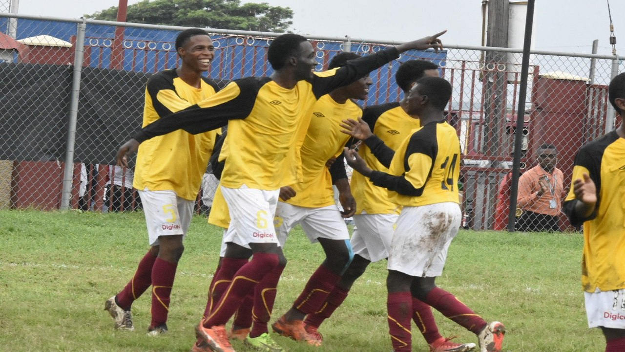 Wolmer's Boys celebrating their first-leg victory over Holy Trinity High on Monday, September 17, 2018 at Heroes Circle. (PHOTO: Marlon Reid).