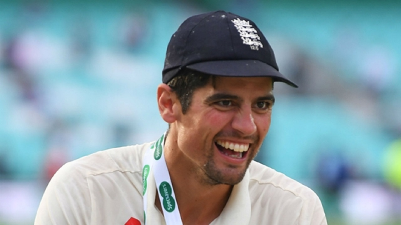 England opener Alastair Cook celebrating the fifth Test win over India.
