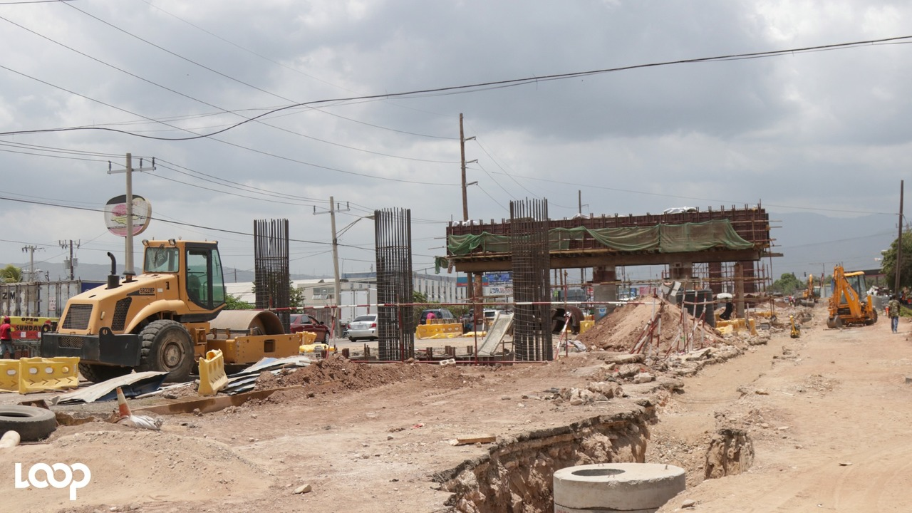 Ongoing road and bridge works in a closed section of Marcus Garvey Drive in the Three Miles area of St Andrew.