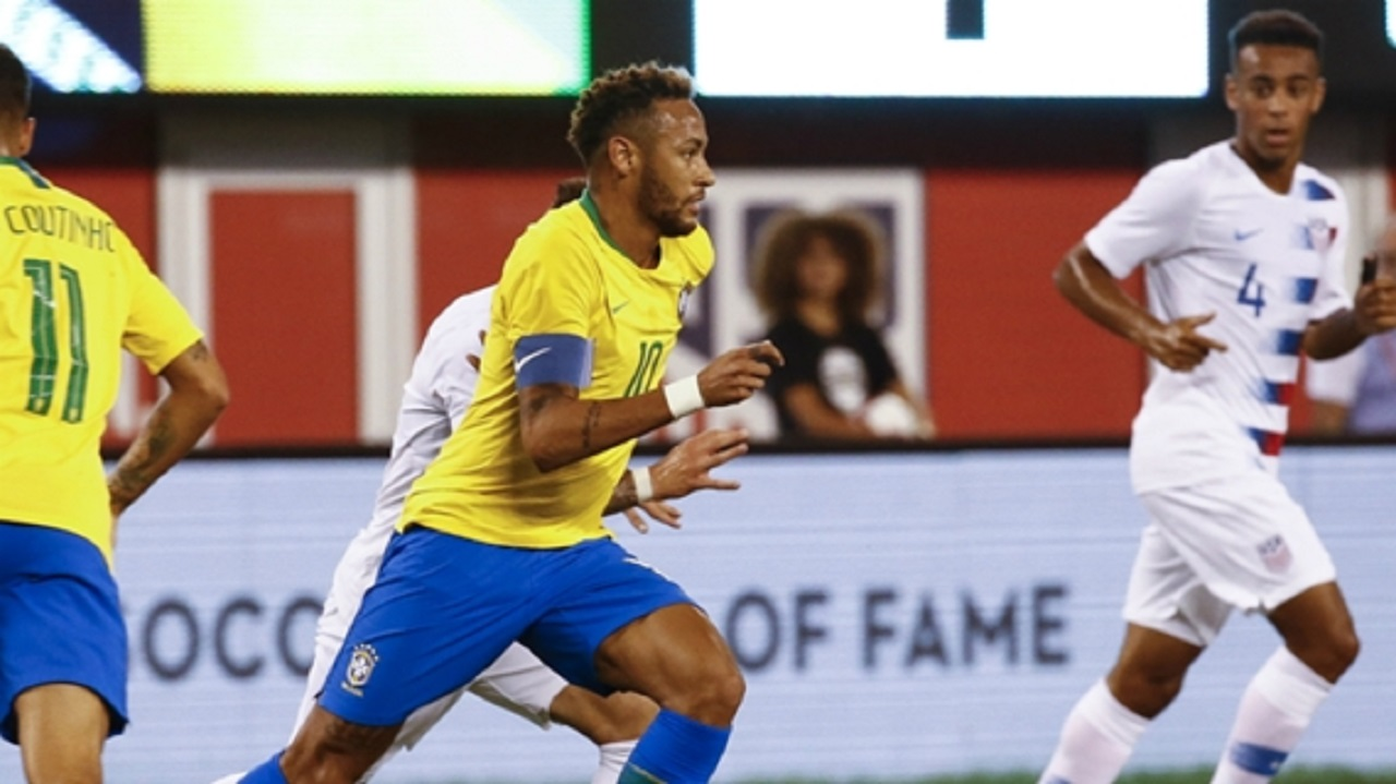 Brazil captain Neymar against USA.
