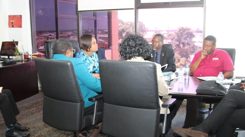 Minister of Sport and Youth Affairs, Shamfa Cudjoe, accompanied by Permanent Secretary and other officials of the Ministry, meets with TTFA President David John-Williams and other officials from the TTFA (Photo: Ministry of Sport and Youth Affairs)
