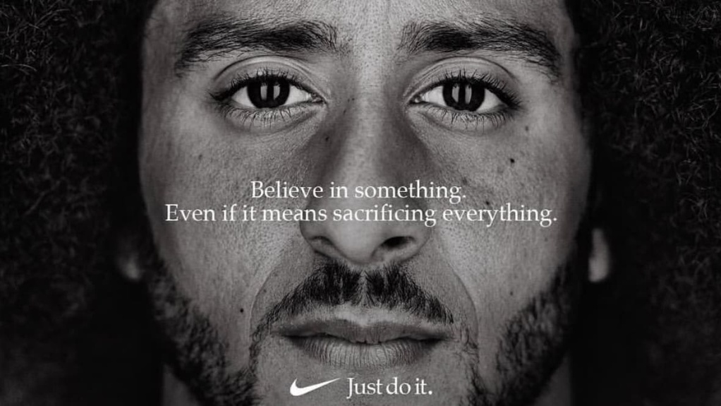 "This image taken from the Twitter account of the former National Football League player Colin Kaepernick shows a Nike advertisement featuring him that was posted Monday, Sept. 3, 2018. Kaepernick already had a deal with Nike that was set to expire, but it was renegotiated into a multi-year deal to make him one of the faces of Nike's 30th anniversary ""Just Do It"" campaign, according to a person familiar with the contract. (Twitter via AP)"