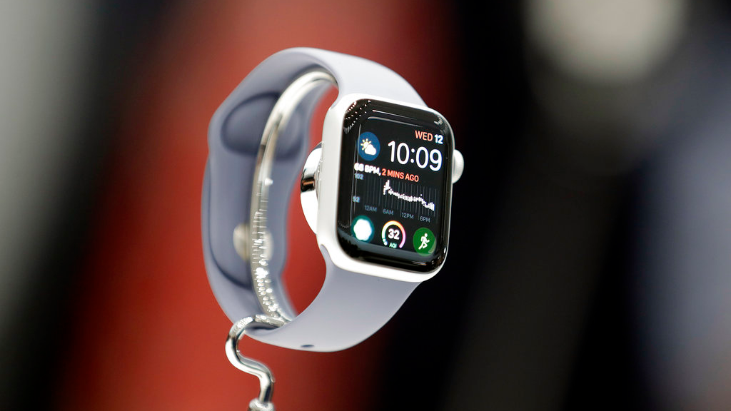 The new Apple Watch 4 is on display at the Steve Jobs Theater during an event to announce new products Wednesday, Sept. 12, 2018, in Cupertino, Calif. (AP Photo/Marcio Jose Sanchez)