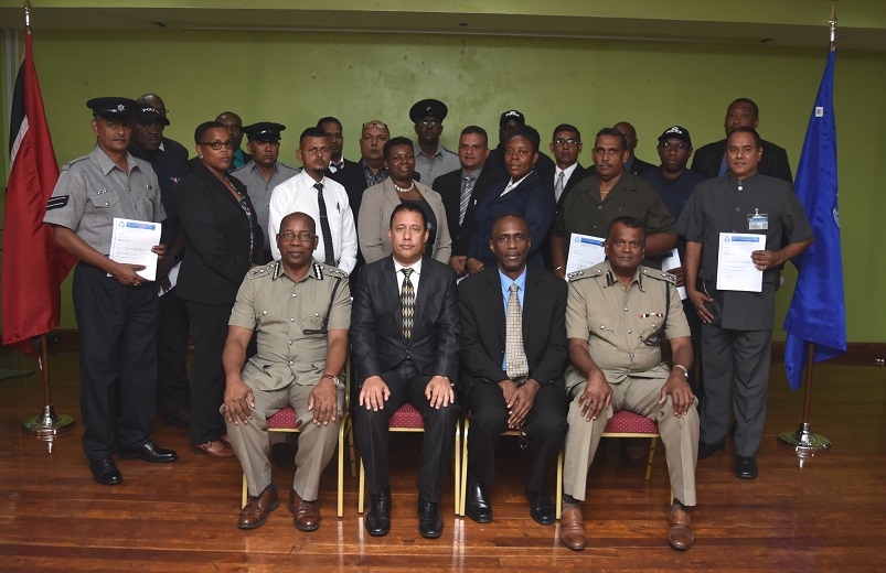 Police Commissioner Gary Griffith, along with Deputy Commissioner of Police Administration, Stephen Williams, Deputy Commissioner of Police (Ag) Crime and Support, Harold Phillip and Deputy Commissioner of Police (Ag),Operations Deodat Dulalchan, are photographed with newly promoted officers to the rank of Sergeant of Police, at the Solomon McLeod Lecture Theatre, Police Administration Building, Port of Spain, on Tuesday 11th September, 2018.