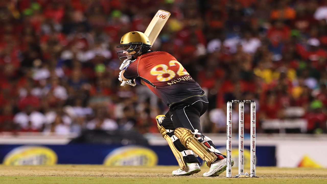 Colin Munro of Trinbago Knight Riders bats during the Hero Caribbean Premier League Final against Guyana Amazon Warriors at Brian Lara Stadium on September 16, 2018 in Tarouba, Trinidad and Tobago. (PHOTOS: CPL via Getty Images).