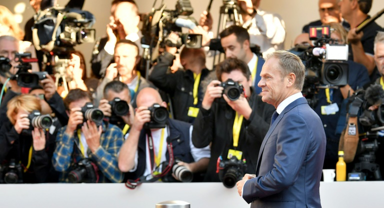La Première ministre britannique Theresa May, le 20 septembre 2018 à Salzbourg, en Autriche