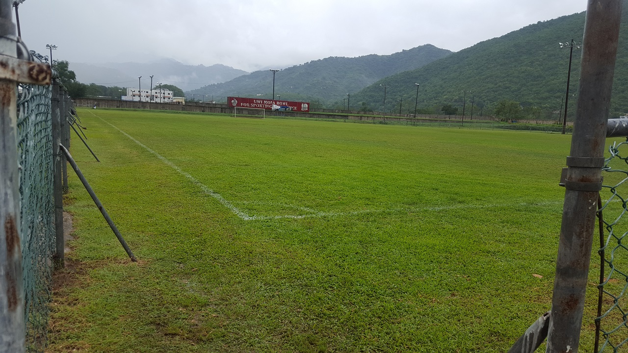 Picture shows the Mona Bowl field, which was scheduled to host the Red Stripe Premier League (RSPL) match between the University of the West Indies (UWI) FC and Harbour View on Sunday, September 16, 2018. The match was postponed because of a waterlogged field. (PHOTO: Marlon Reid).