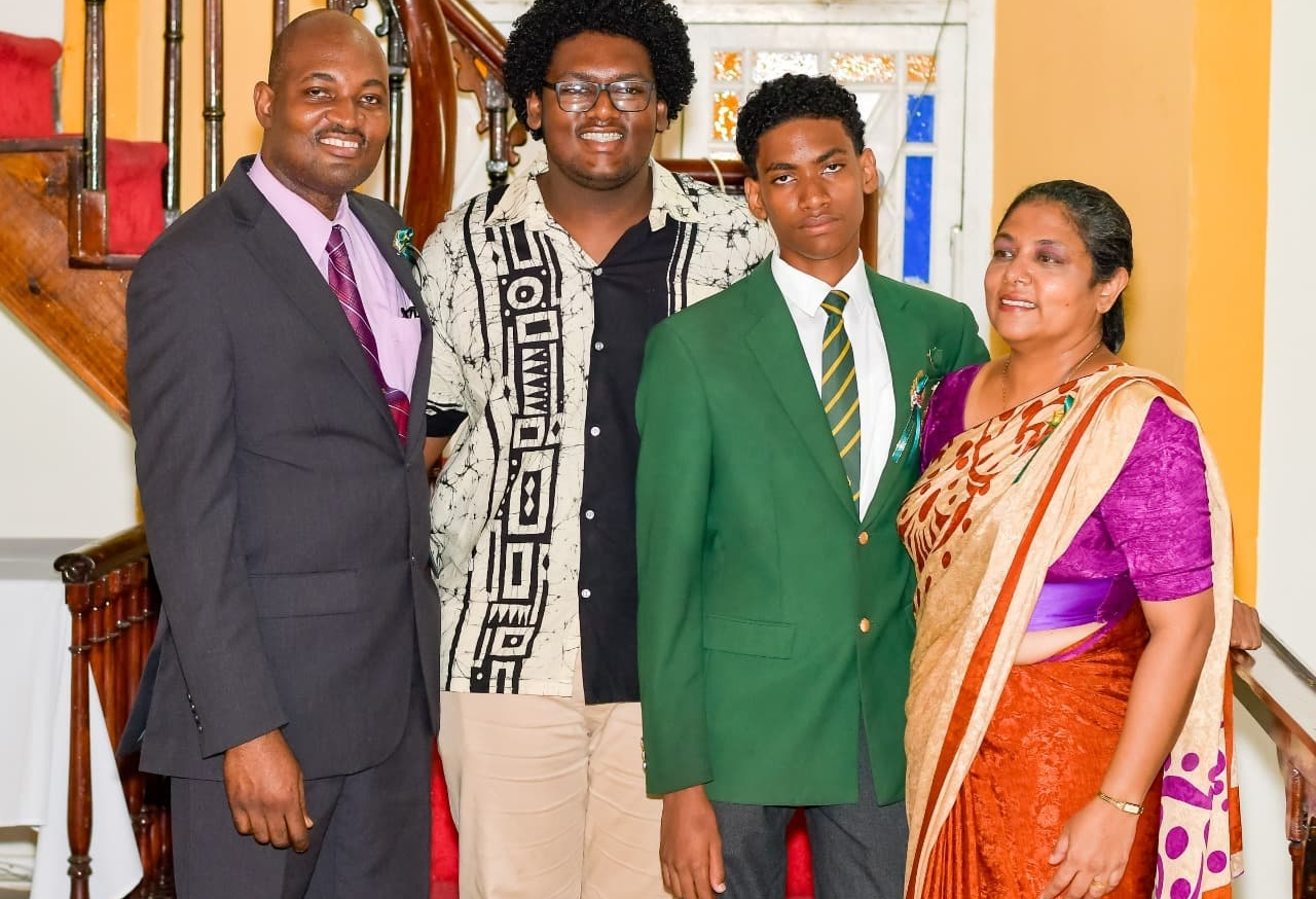 (L-R) Dad Dr Conrad Nedd, Brother Sujith Nedd, Delaan Nedd, and mom Mrs. Kaushalya Nedd