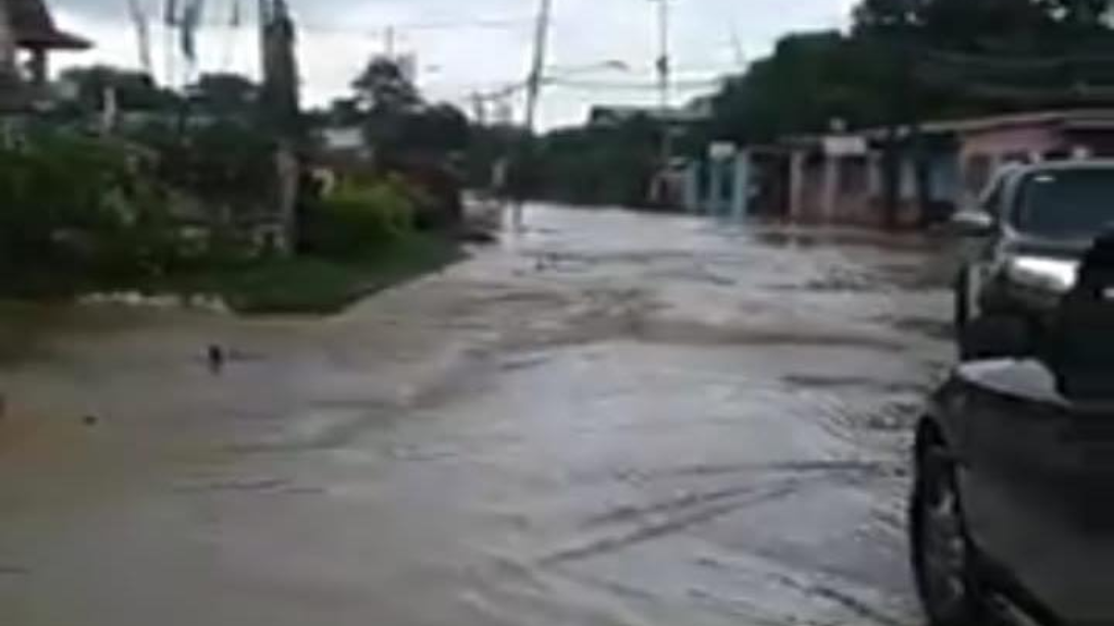 Flooding reported in the Prince Town region. Photo via Facebook, The Ministry of Rural Development and Local Government.