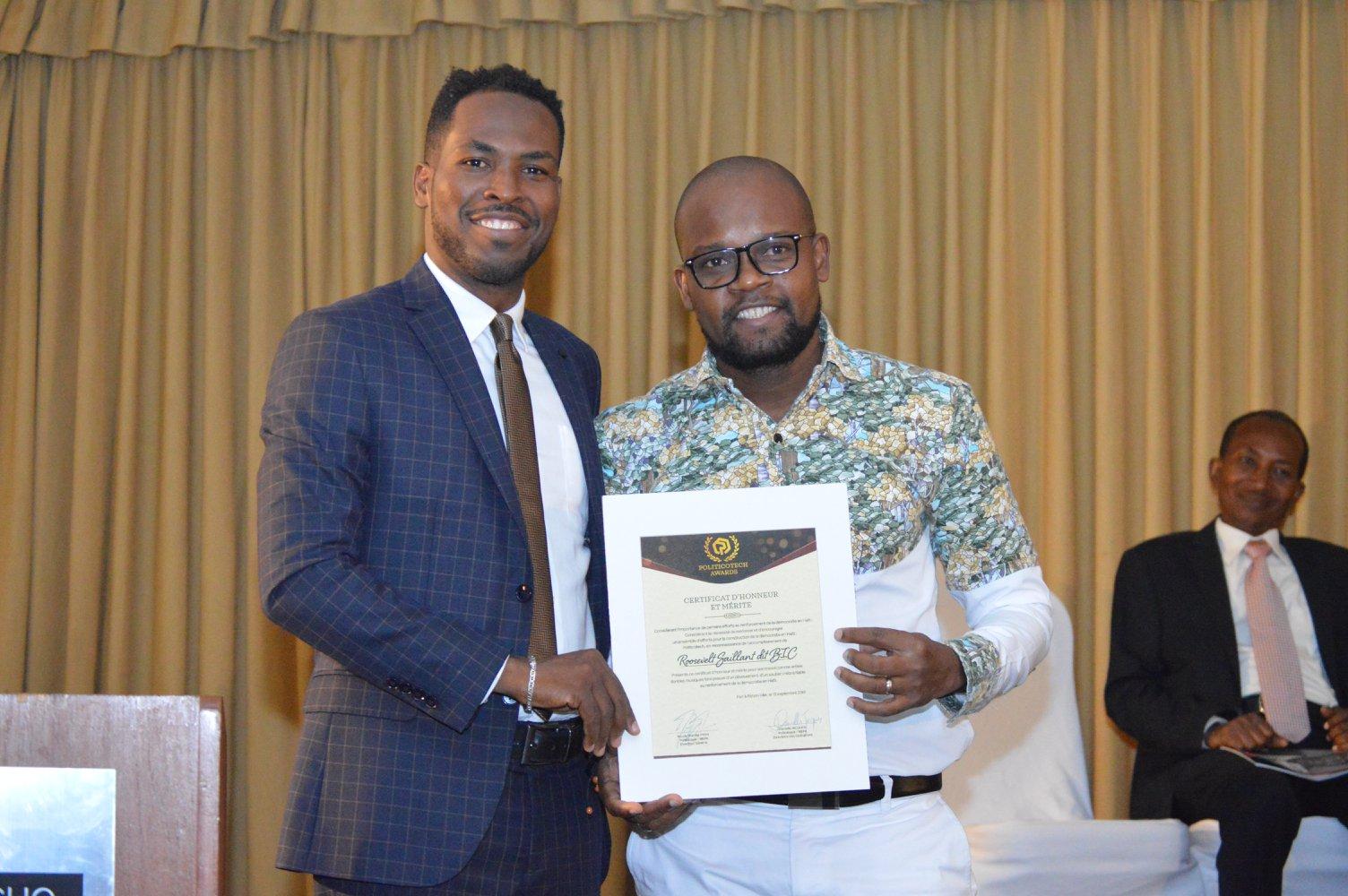 Roosevelt BIC Saillant, honoré dans le cadre de la première édition de Politico Tech Awards