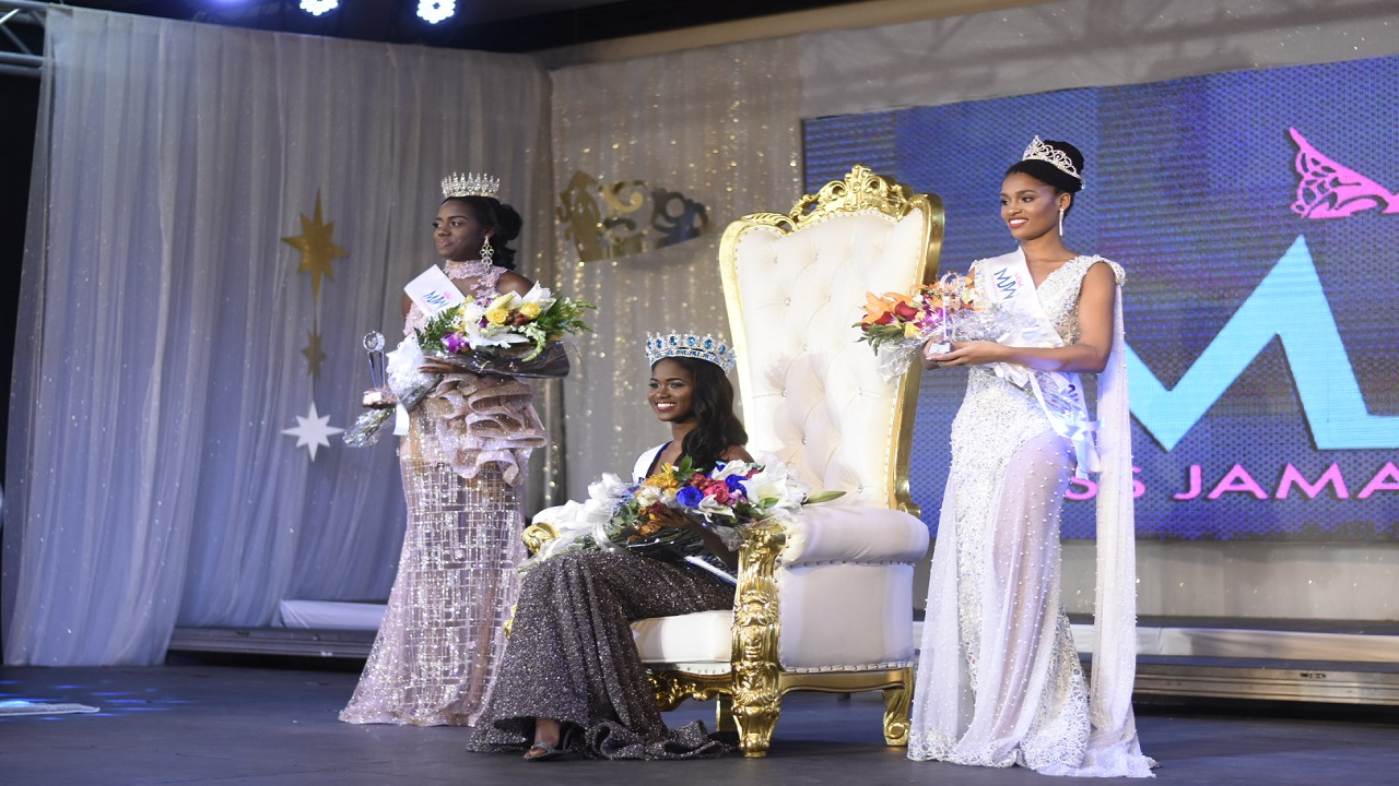 Miss Jamaica World 2018, Kadijah Robinson (seated), flanked by first runner-up, Issia Thelwell and second runner-up, Catherine Harris, at the coronation show on Saturday night at the Jamaica Pegasus Hotel in New Kingston.