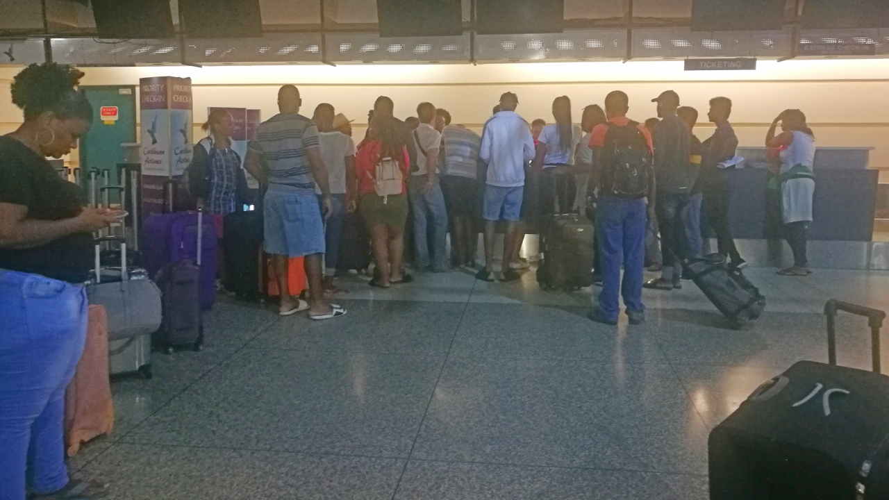 The scene at the Grantley Adams International Airport (GAIA) this morning.