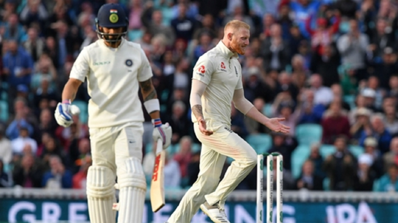 Ben Stokes celebrates dismissing Virat Kohli at the Oval.