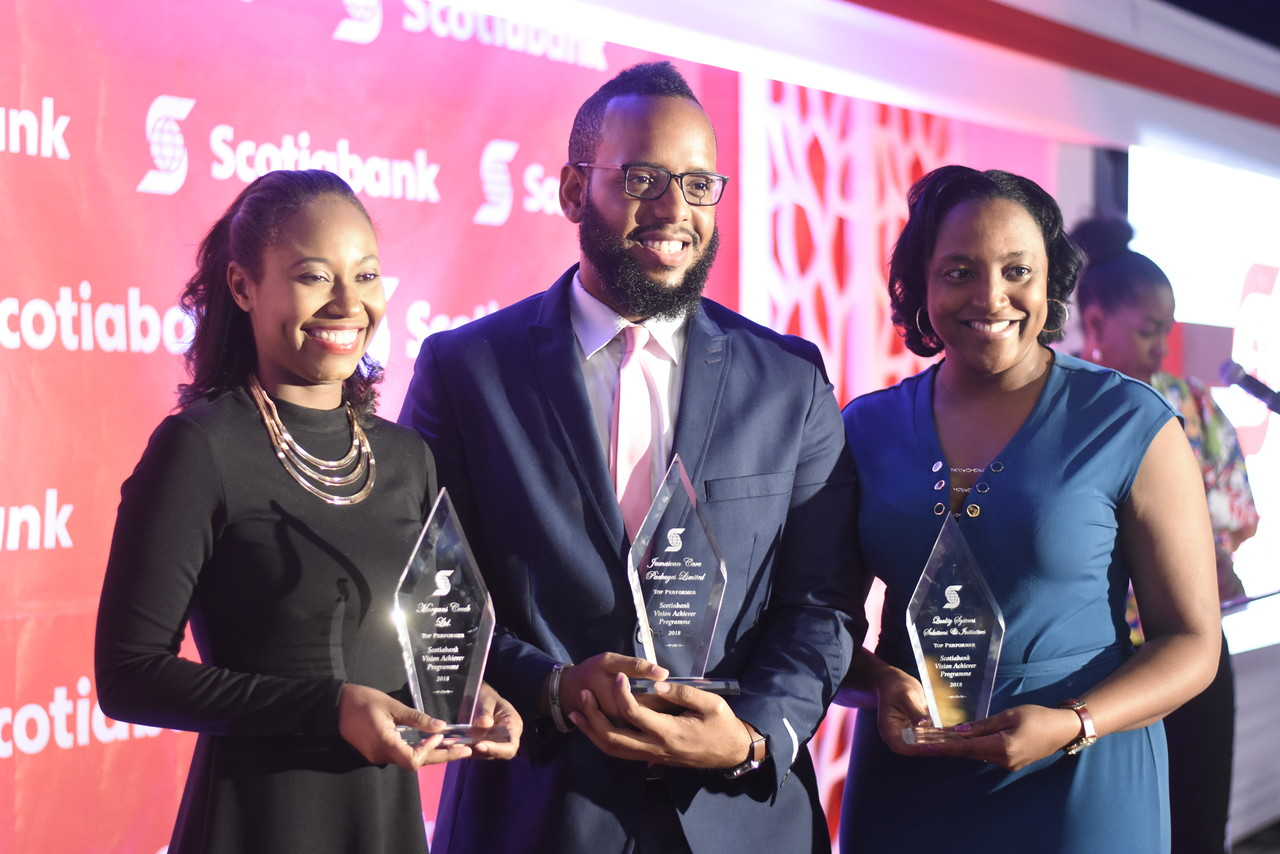 From left to right: Joni-Dale Morgan, Rory-Craig Walker and Sheryl Anderson walked away with the top prize for Scotia Vision Achiever Programme. (Photo: Marlon Reid)