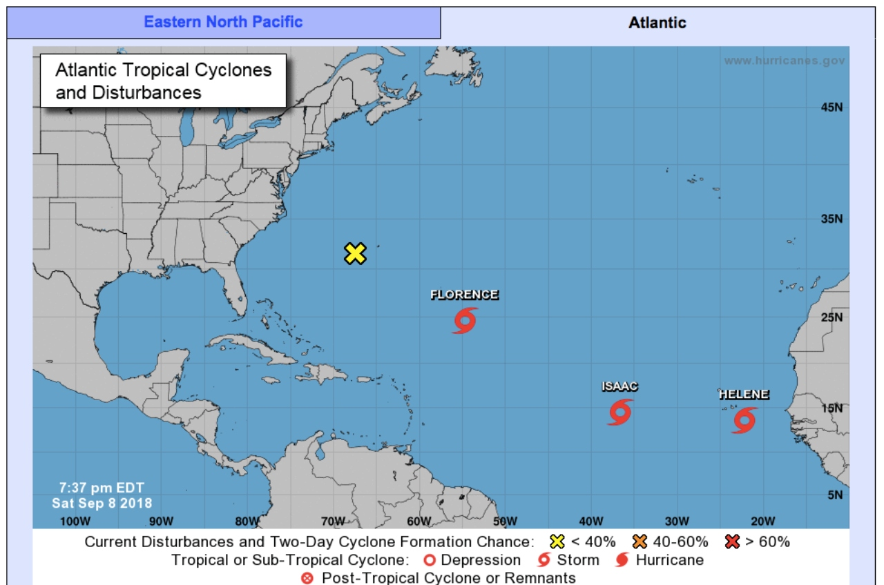 National Hurricane Centre (NHC) Active Storms, Marine Forecasts, 2-Day Graphical Tropical Weather Outlook, 5-Day Graphical Tropical Weather Outlook chart.