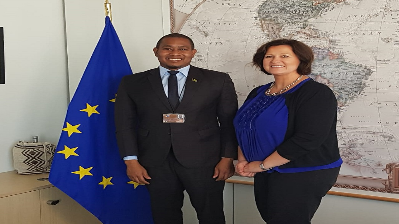 Minister Floyd Green with Jolita Butkeviciene, Director Latin America and Caribbean, European Commission, Directorate -General for International Cooperation and Development.