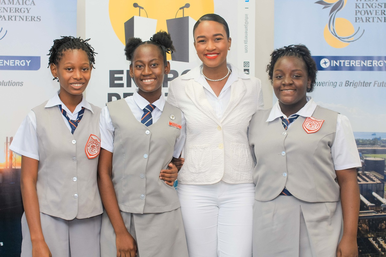 WKPP PR specialist Moya Rose with students of Clan Clarthy High at the launch.