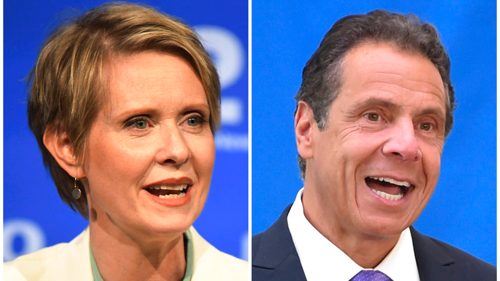 In this combination of file photos, New York gubernatorial candidate Cynthia Nixon, left, speaks during a Democratic primary debate in Hempstead, N.Y., on Aug. 29, 2018, and Gov. Andrew Cuomo speaks at a press conference in New York on July 18, 2018. Democratic primary voters in New York on Thursday, Sept. 13 will settle the primary battle between two-term Cuomo and liberal challenger Nixon. (J. Conrad Williams Jr./Newsday Pool, and Evan Agostini/Invision, File)