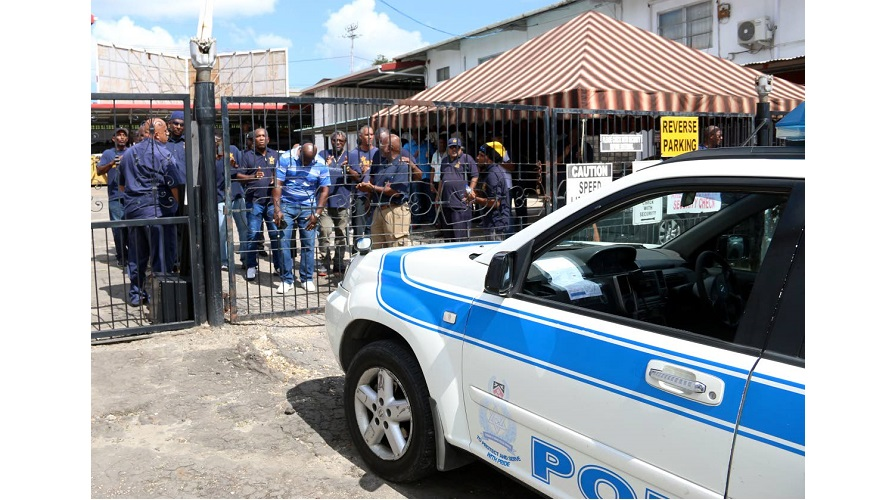 OWTU workers staged a protest outside Lennox Petroleum Services Limited in San Fernando on August 29. (Image courtesy: Trinidad Newsday)