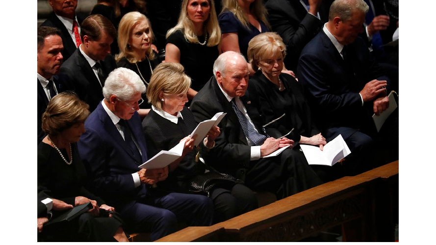 From left, former first lady Laura Bush, former President Bill Clinton, former Secretary of State Hillary Clinton, former vice president Dick Cheney and his wife Lynne and former vice president Al Gore arrive at a memorial service for Sen. John McCain, R-Ariz., at Washington Nationals Cathedral in Washington, Saturday, Sept. 1, 2018.