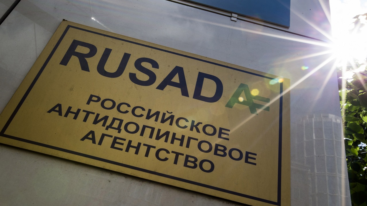 "The May 24, 2016 file photo shows a RUSADA sign reading ""Russian National Anti-doping Agency"" on a building in Moscow, Russia. The World Anti-Doping Agency is due to vote Thursday Sept. 20, 2018, on possible reinstatement of Russia's anti-doping agency, RUSADA, but opponents feel Russia can't be trusted to reform without first accepting more of the blame."