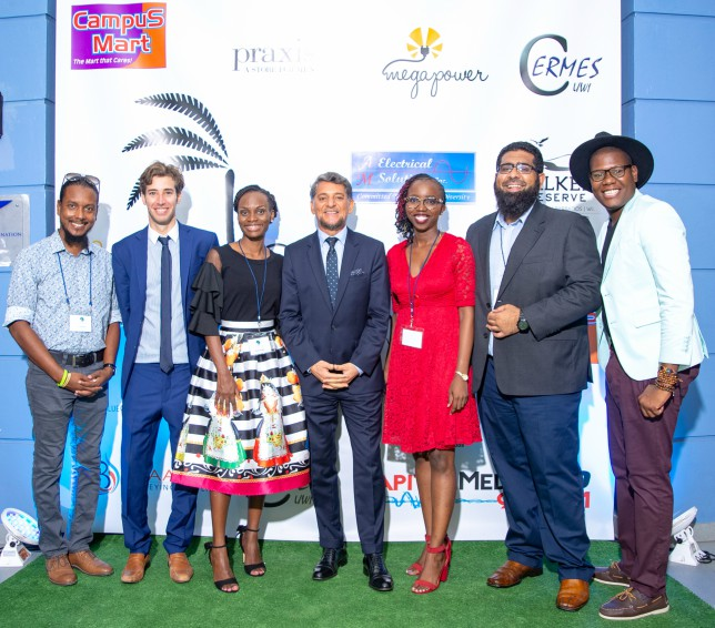 Members of the Blue Green Initiative at the Premiere of Caribbean Eco-Films. At center is Argentine Ambassador, Gustavo Martinez Pandiani and film director Clish Gittens (far right).