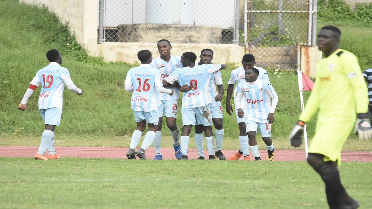 St George's College players celebrate a goal during their ISSA/Digicel Manning Cup first leg second round fixture against Mona High at the Stadium East field on Wednesday, October 17, 2018. (PHOTO: Marlon Reid).