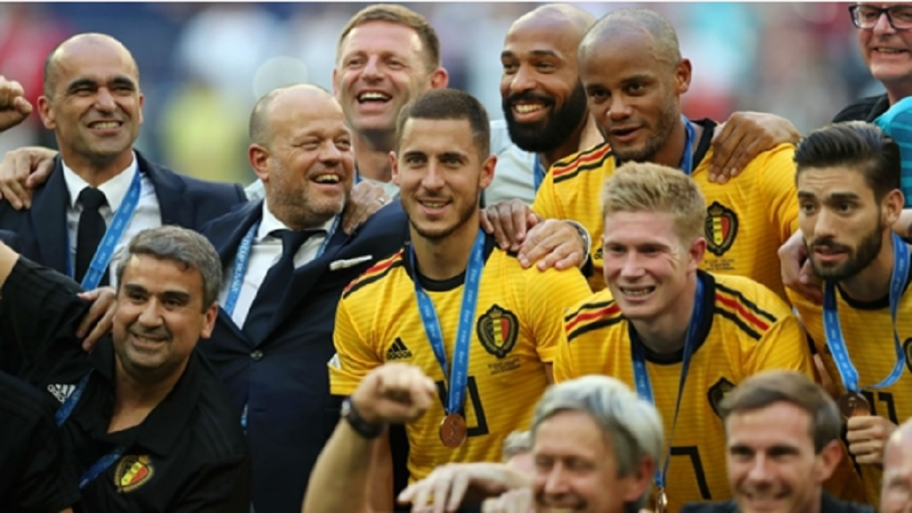 Belgium celebrate their World Cup medals.