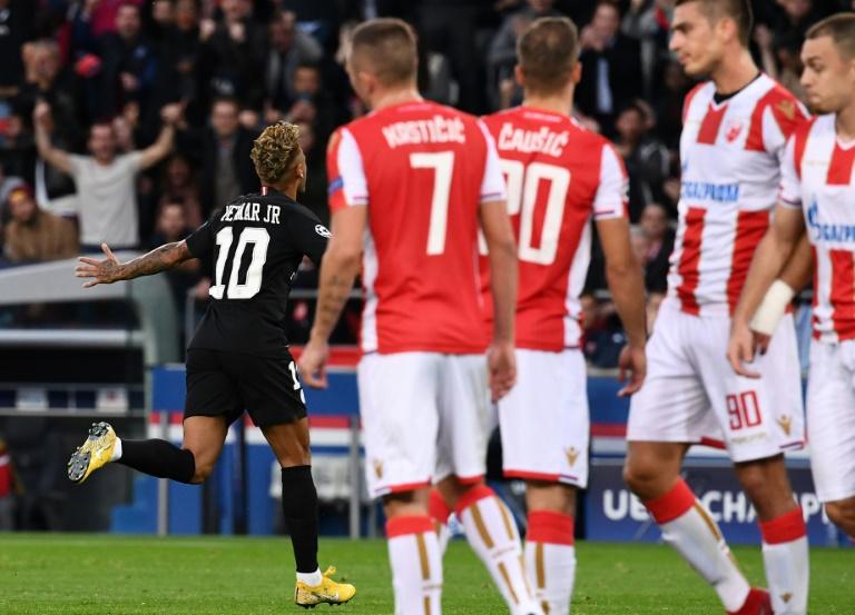 Neymar après un but pour le PSG face à l'Etoile Rouge de Belgrade, le 3 octobre 2018 au Parc des Princes