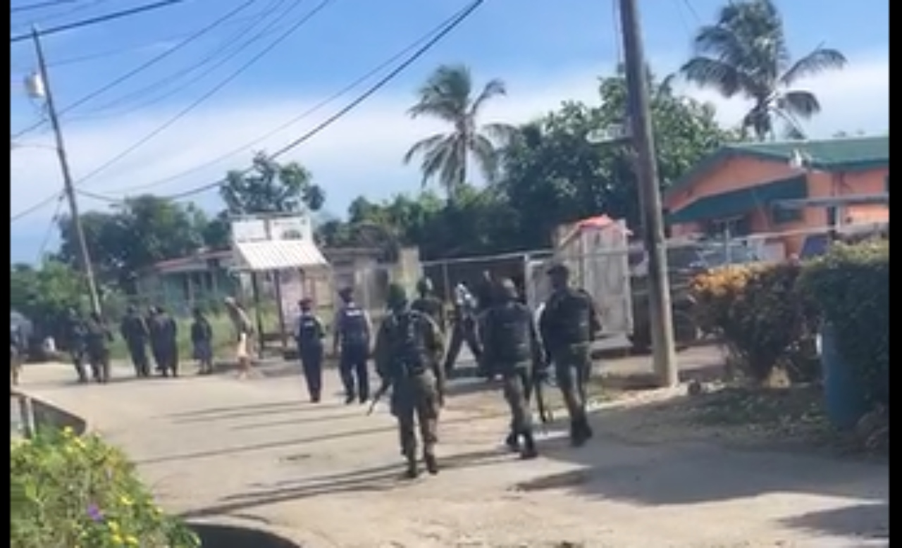 A clip from a video claiming to show members of the Royal Barbados Police Force and the Barbados Defence Force soldiers conducting the stop and search exercise in Crab Hill, St Lucy, which took place on Friday.
