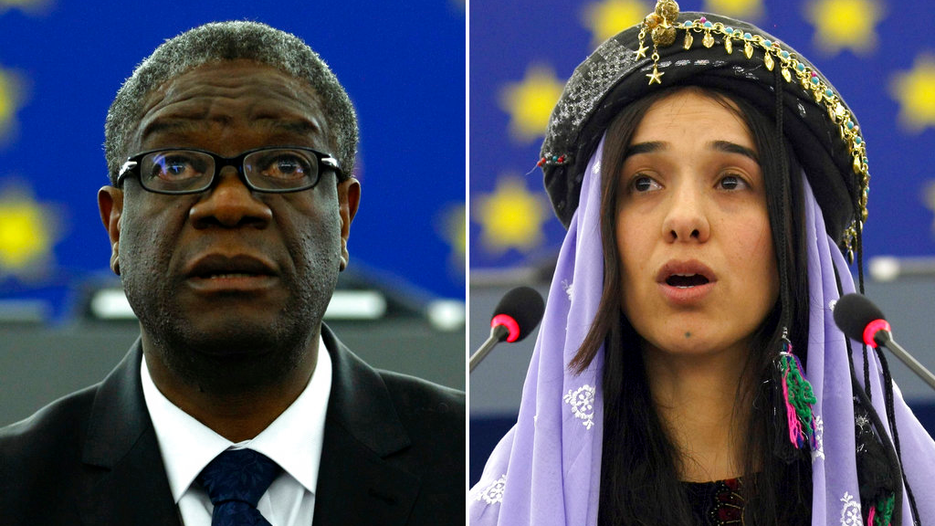 Doctor Denis Mukwege, from the Democratic Republic of Congo, left, on Nov. 26, 2014 and Yazidi woman from Iraq, Nadia Murad on Dec. 13, 2016 as they both address the European parliament in Strasbourg, France. (AP Photos/Christian Lutz, file)