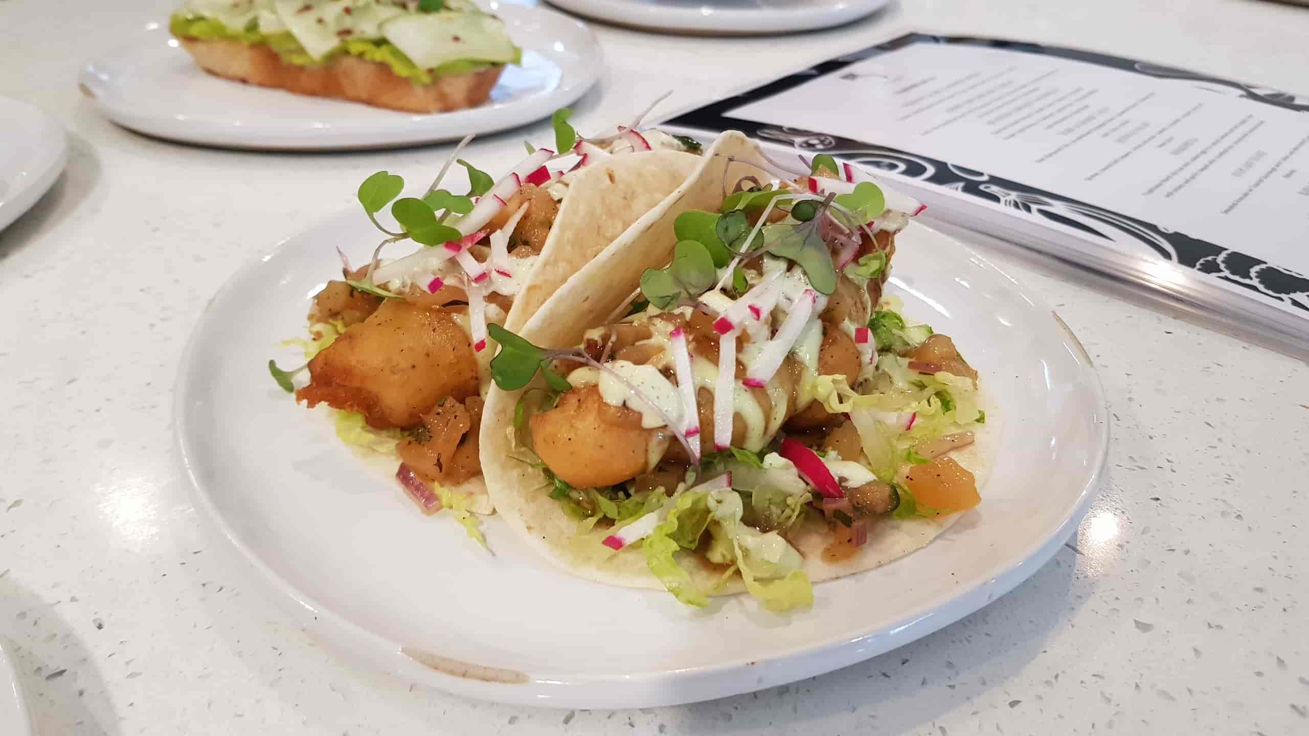 Bake and Shark Taco at Five the Eatery