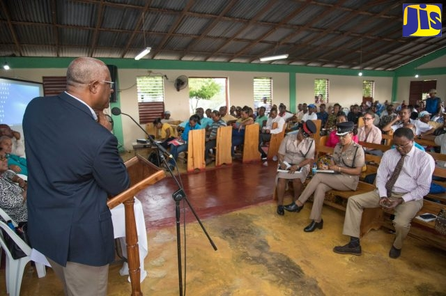 Project Manager for the implementation of the US$2.5-billion Vernamfield development project, Colonel Oscar Derby, addressing the town hall meeting.