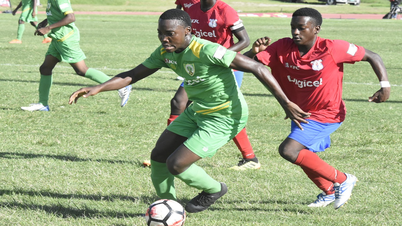 Action from the ISSA/Digicel Manning Cup first leg second round match between Camperdown High and Excelsior High at the Stadium East field on Tuesday, October 16, 2018. Camperdown won 1-0. (PHOTOS: Marlon Reid).