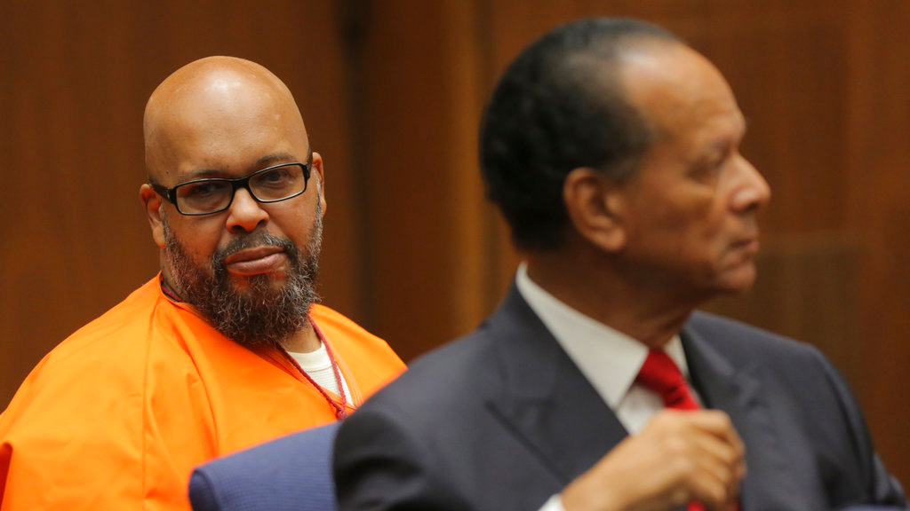 "Marion ""Suge"" Knight, left, and his defense attorney Albert DeBlanc Jr. appear in court in Los Angeles, Thursday, Oct. 4, 2018. (David McNew/Pool Photo via AP)"