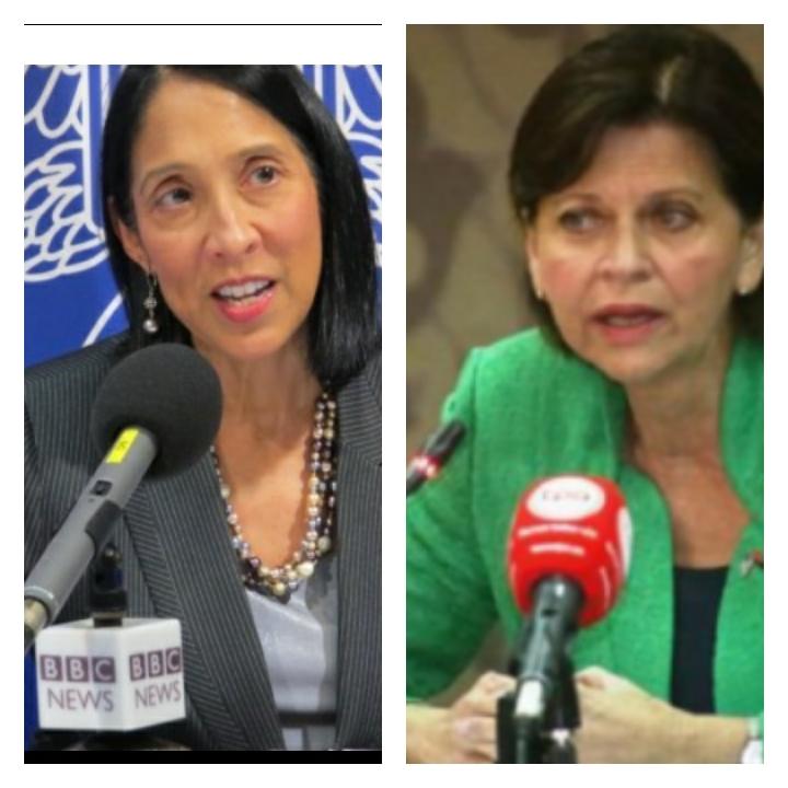 Photo : à droite l'ambassadeur des États-Unis en Haïti Michele J. Sisson, à gauche la Représentante spéciale du Secrétaire général des Nations Unies en Haïti Helen La Lime