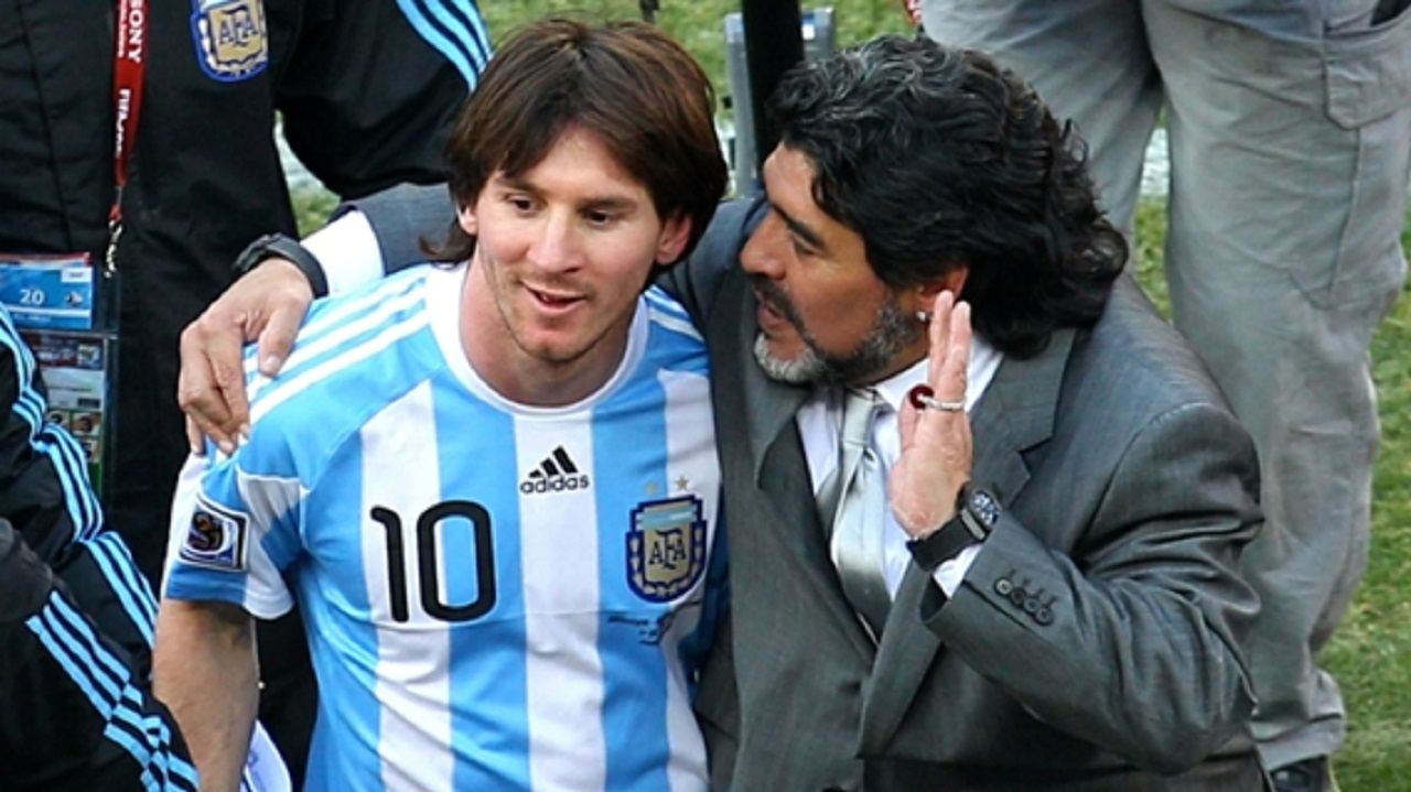 Lionel Messi and Diego Maradona during the 2010 World Cup.