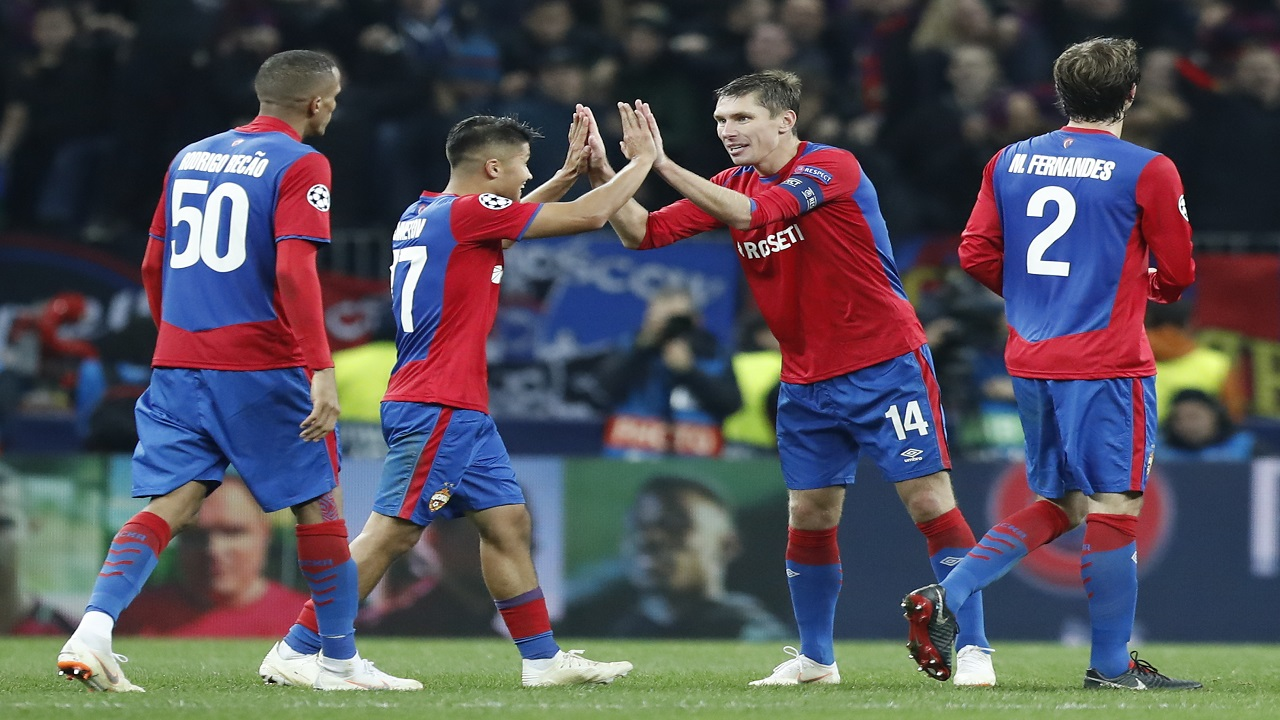 CSKA Moscow players celebrate their victory during a Group G Champions League football match against Real Madrid at the Luzhniki Stadium in Moscow, Russia, Tuesday, Oct. 2, 2018.