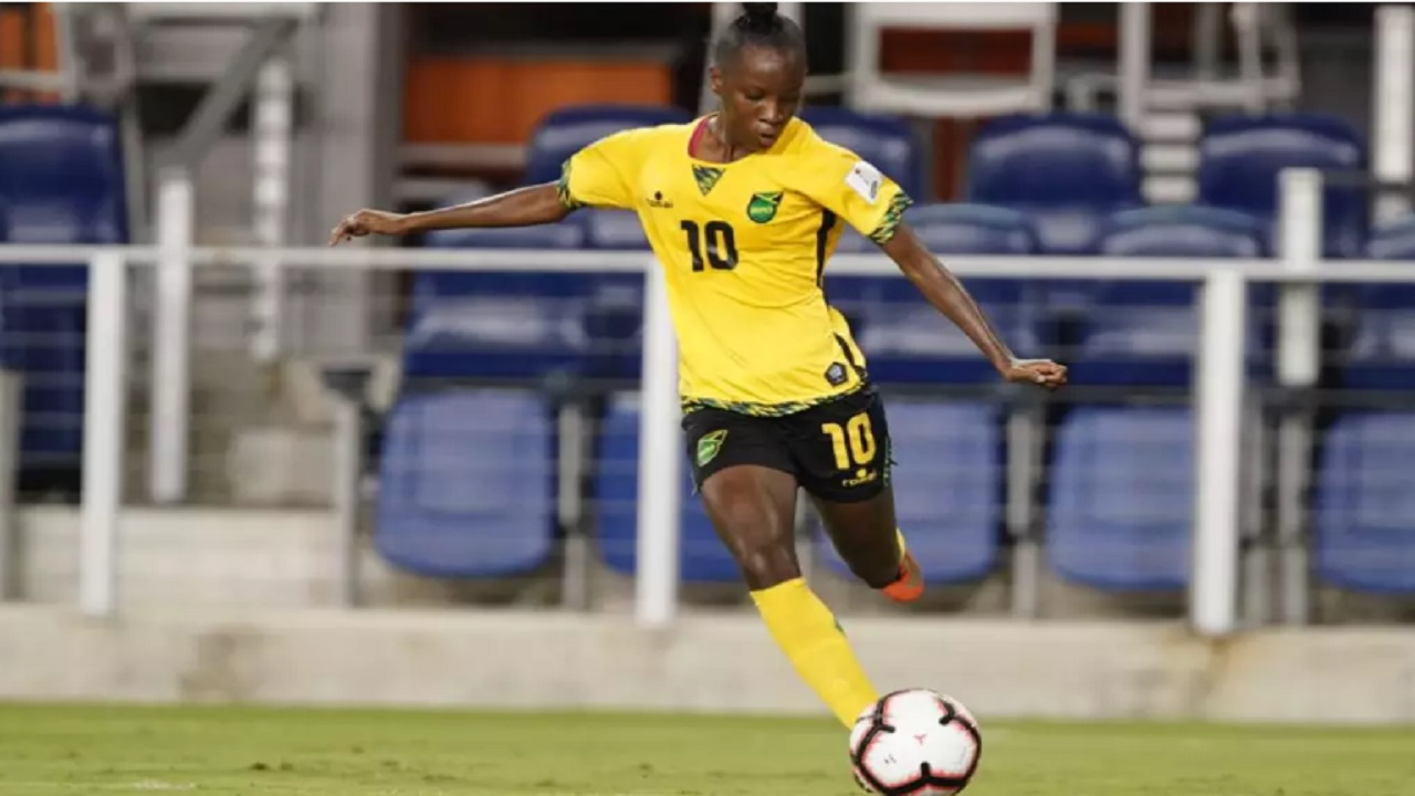 Jody Brown recorded a hat-trick to lead Jamaica's Reggae Girlz to a 9-0 victory over Cuba  at the 2018 concacaf Women's Championship at H-E-B Park in Texas on Thursday night. (PHOTO: concacaf.com).